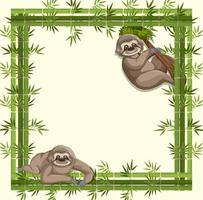 Empty banner with bamboo frame and sloth cartoon character