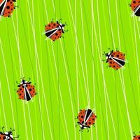 Seamless pattern with ladybugs on juicy sow thistle vector