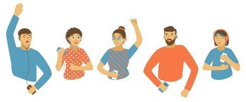 Conjunto de diferentes personas bailando al ritmo de la música, un libro o conferencias desde el teléfono. vector