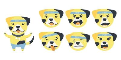 Set of emotions of a cute Bulldog dog vector