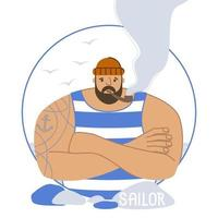 Sailor with a tattoo in a striped T-shirt and with a pipe vector