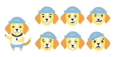 conjunto de emociones de un lindo perro beagle vector