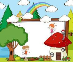 Banner en blanco en la escena del bosque con elementos y personajes de dibujos animados de cuentos de hadas vector