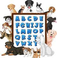 tablero del alfabeto az con muchos tipos diferentes de perros