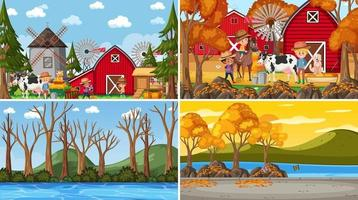 Set of different nature scenes background with people vector