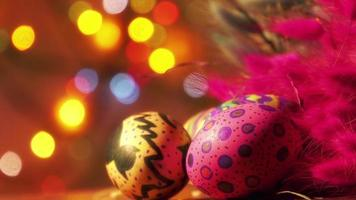 Colorfully Painted Easter Eggs and Feathers video
