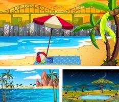 conjunto de diferentes escenas de paisajes naturales. vector