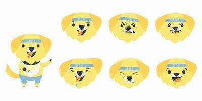 Set cartoon emotions character yellow Labrador retriever vector