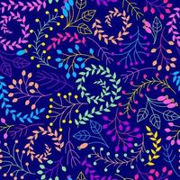 Seamless floral pattern on a dark blue background. vector