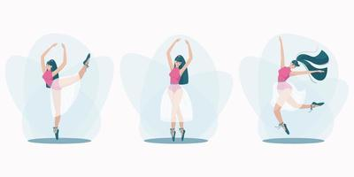 Set of beautiful poses of a dancing girl vector