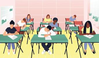 Students write a test exam in a beautiful classroom vector