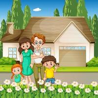 Happy family standing outside home vector