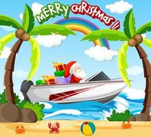 Santa Claus driving speed boat on the beach scene vector