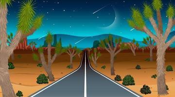 Desert landscape at night time vector