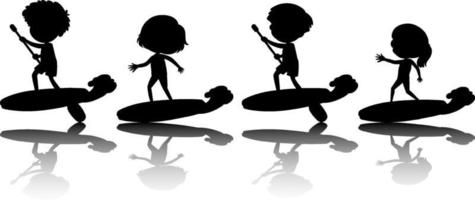 Set of different kids on surf board silhouette