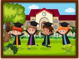 una foto de la fiesta de graduación de los niños de la guardería vector