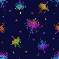 Seamless pattern sparklers in beautiful style on dark background vector