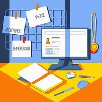 Escritorio en casa para estudiantes, escolares o empleados. vector