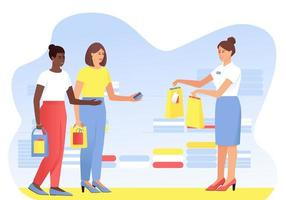 Two shopping girlfriends are shopping vector