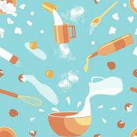 Seamless pattern of baking ingredients vector