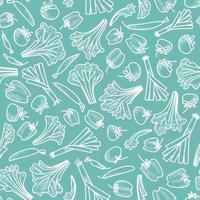 Seamless pattern of vegetables drawn by a white line on an aquamarine background vector