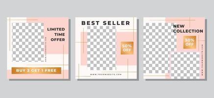 plantilla de publicación de redes sociales de venta de moda vector