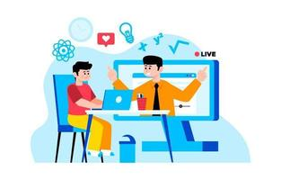 Children Studying with Online Education Activity vector