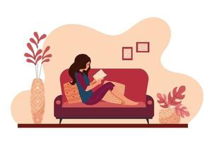 Young woman relaxing at home lying on the couch reading a book. Girl taking a break resting on the sofa of a cozy house. Female daily lifestyle vector illustration.