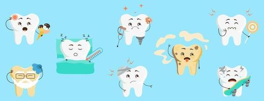 Cute tooth characters in flat style. Set of cartoon sick teeth with caries, pain from sweets, hypersensitivity. Vector illustration for children in dentistry