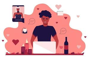 A young guy sits at a laptop monitor and communicates in a dating chat. A girl and a man on a romantic date online. Flat vector illustration