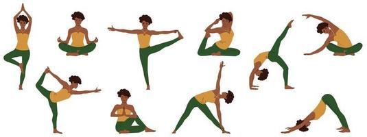 Yoga poses set. Collection of young african american woman demonstrating various doing asanas positions from insomnia and for relaxing. Isolated flat vector illustration