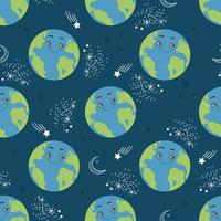 Seamless pattern cartoon Earth planet. Happy globe character in space. Vector illustration for textile print, wrapping paper and wallpaper