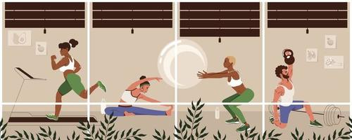 Different young people exercising at modern gym. Healthy lifestyle, fitness concept. Men and women do physical exercises. Flat vector illustration