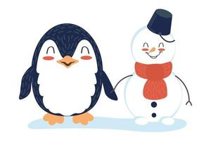 Cute cartoon characters penguin and snowman hold hands. Friends at the North Pole. Children's vector illustration