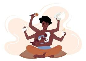 Busy african american mother taking care of her child. Multitasking black mom with six hands changes diapers, feeds, puts her baby to bed. Flat vector illustration