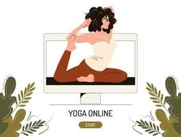 Online yoga class concept. A young woman at the computer monitor conducts a master class on stretching and asana. Flat vector illustration