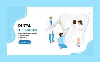 página de inicio de tratamiento dental. banner web dentistas cuidan el diente. ilustración vectorial plana vector