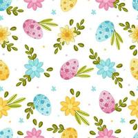 Easter seamless pattern with eggs, spring flowers and leaves on a light background. Vector illustration