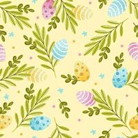 Easter seamless pattern with vector eggs and spring greens. For cover, wrapping paper, fabric