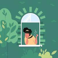 Spring depression. Young woman under stress from self-isolation. Apathetic state, sadness at the window. Flat vector illustration