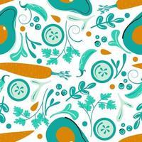 Seamless vegetable pattern. Green vegan background. Flat vector illustration