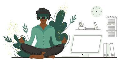 African American woman in the office relaxes, resting in augmented reality glasses. Be in nature and listen to the sounds of nature without leaving your workplace. VR concept vector illustration