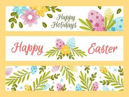Easter set of horizontal banners with colorful ornate eggs and spring flowers, lush greenery. Flat vector illustration