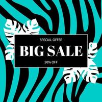 Promotional banner template about big discounts. Summer background with sale vector