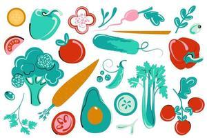 conjunto de verduras. colección vegana fresca. ilustración de vegetación plana vector