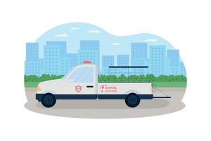 camión de control de animales 2d vector web banner, poster