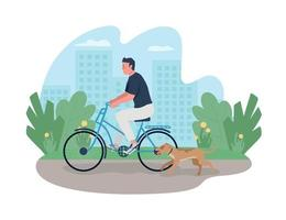 Man riding on bicycle with dog running near 2D vector web banner, poster