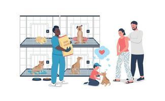 familia adoptando perro del refugio de rescate color plano vector detallado carácter