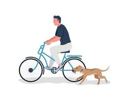Man riding on bicycle with dog running flat color vector detailed character