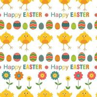 Seamless Happy Easter pattern with eggs, flowers and chicken on white background. Vector illustration.